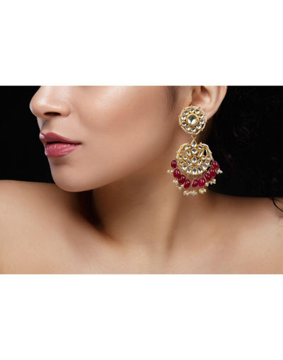 Drop Shape Earrings With Maroon Hangings-Accessories-Glamourental