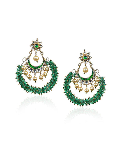 Chand Earrings With Light Green Beads