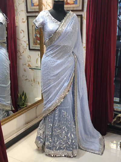 Rent Sky Blue Lehenga Saree-Women-Glamourental