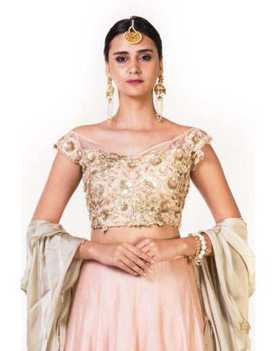 Rent Hand Embroidered Dusty Peach Crop Top Lehenga & Off Shoulder Blouse With a Double Layer Dupatta-Women-Glamourental