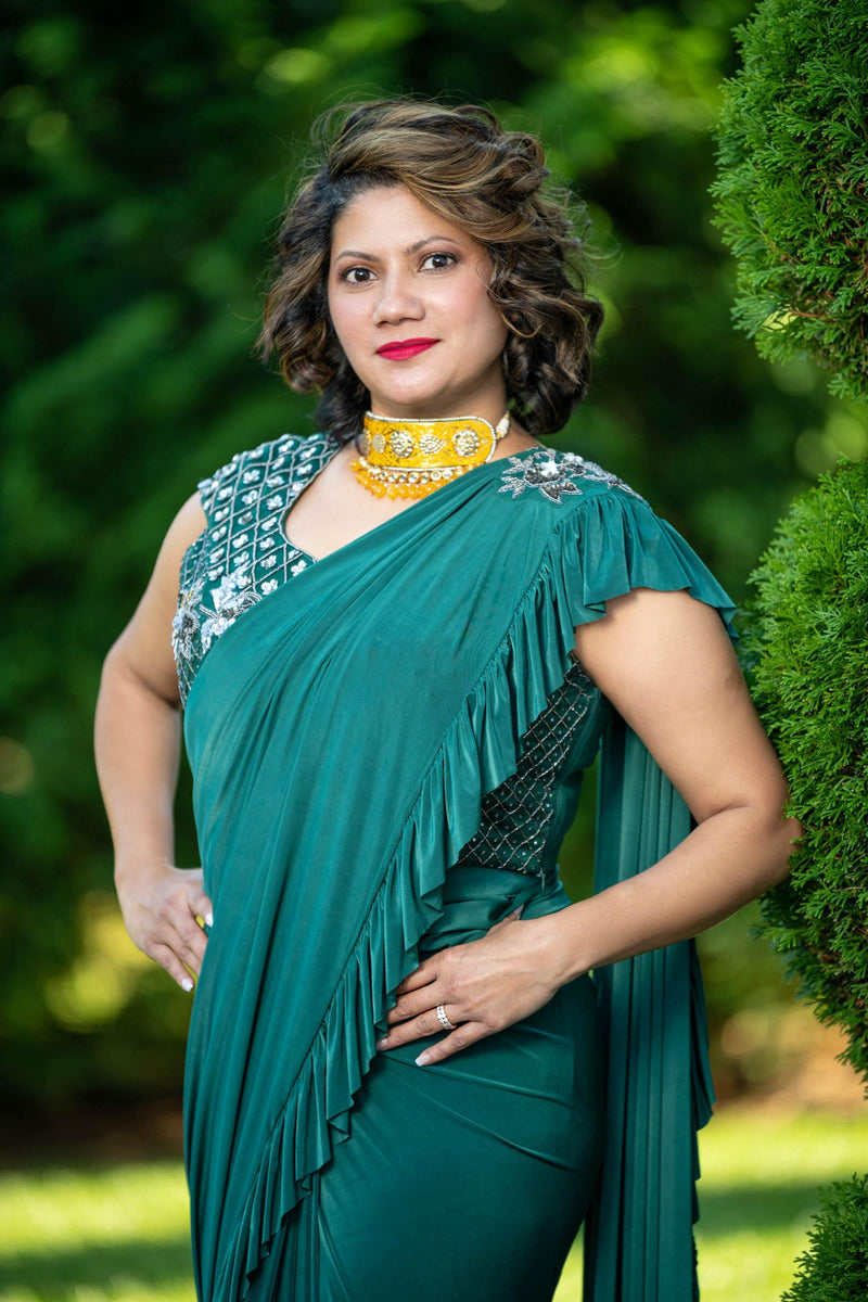 Rent Olive Green Ruffle Made to Wear Saree