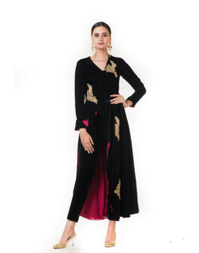 Black Velvet Asymmetrical Indowestern jacket with Hand Embnroidery & Pencil Pants