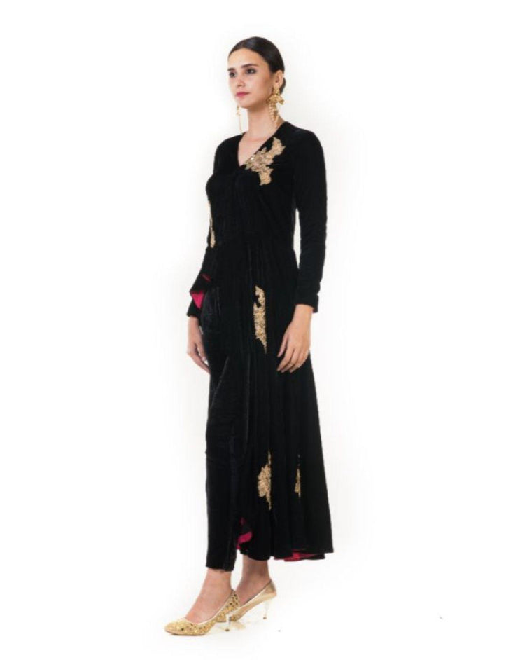 Rent Black Velvet Asymmetrical Indowestern jacket with Hand Embnroidery & Pencil Pants-Women-Glamourental