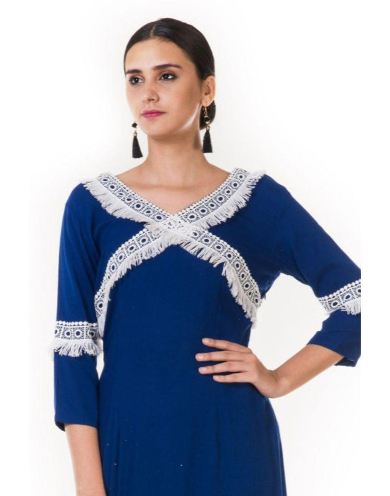 Rent Blue Crochet Lace Tunic Set-Women-Glamourental