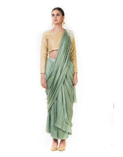 Green Draped Pre-stitched Dhoti Saree with a Hand Embroidered Beige Blouse-Women-Glamourental