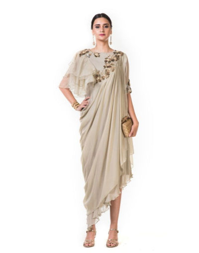 Hand Embroidered Beige Draped Indowestern Dress With One Side Ruffles