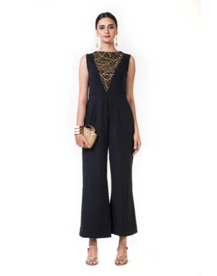Rent Black Jumpsuit with a Chained Yoke Embroidery-Women-Glamourental