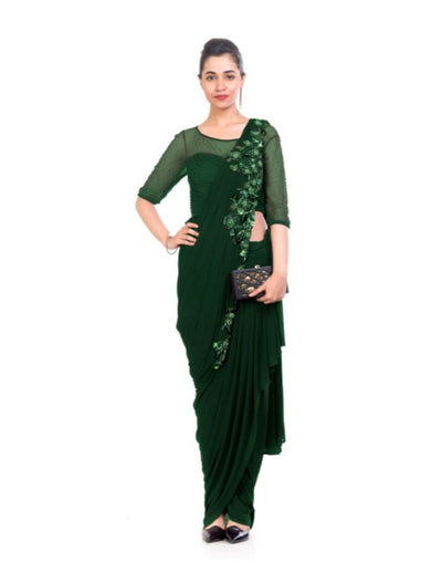Green Dhoti Drape Saree-Women-Glamourental