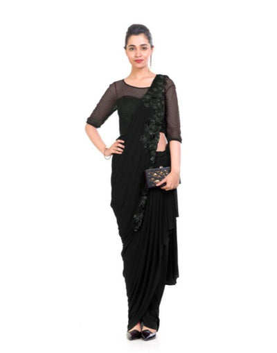 Black Dhoti Drape Saree-Women-Glamourental