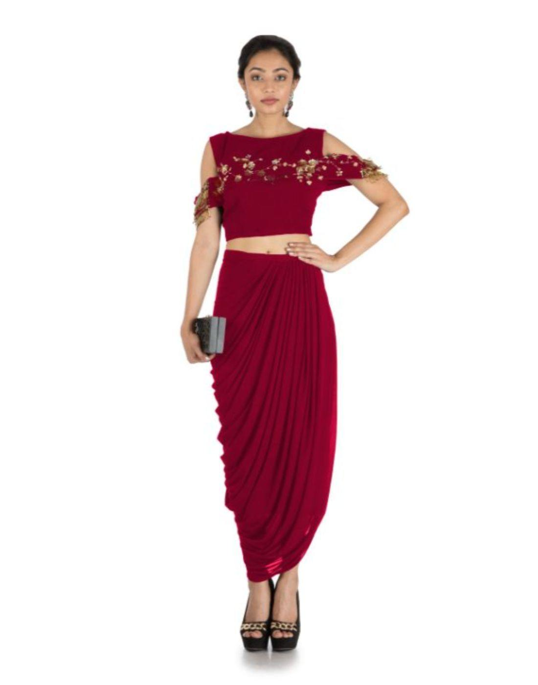 Rent Maroon Bandeau Crop Top and Dhoti Skirt-Women-Glamourental