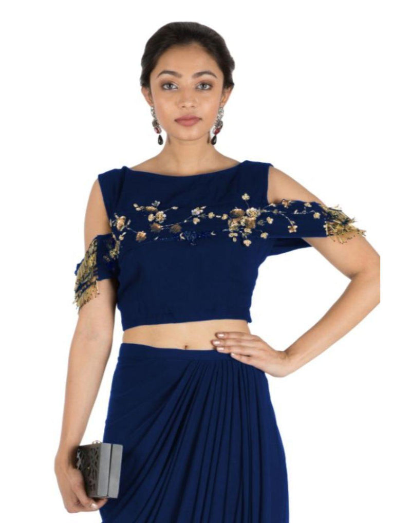 Rent Navy Blue Bandeau Crop Top and Dhoti Skirt-Women-Glamourental
