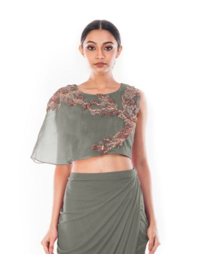 Rent Grey CropTop & Draped Skirt-Women-Glamourental