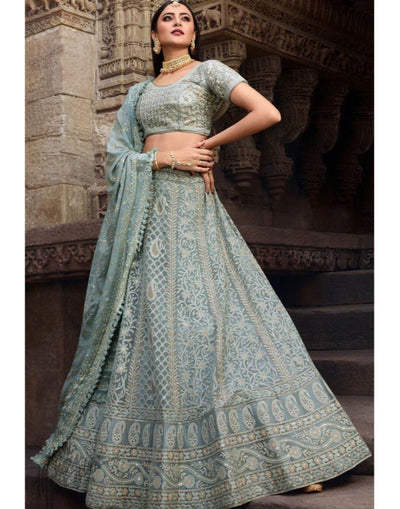 Rent Grey lucknowi Chickankari Pure Georgette Lehenga Choli-Women-Glamourental