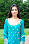Rent Green Embroidered Sharara-Women-Glamourental