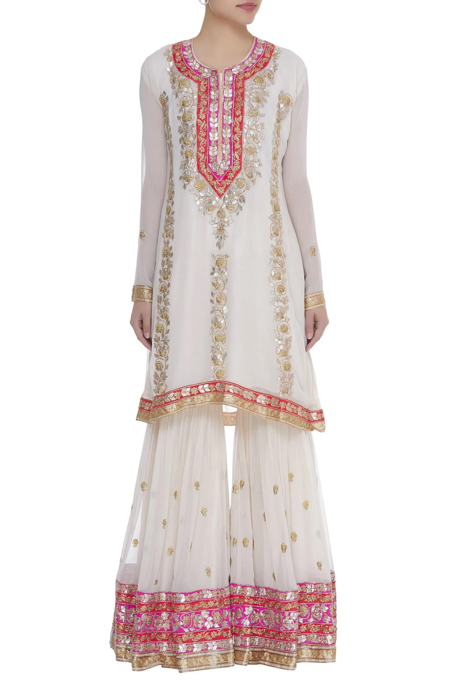 Rent Embroidered Kurta Sharara Set-Women-Glamourental