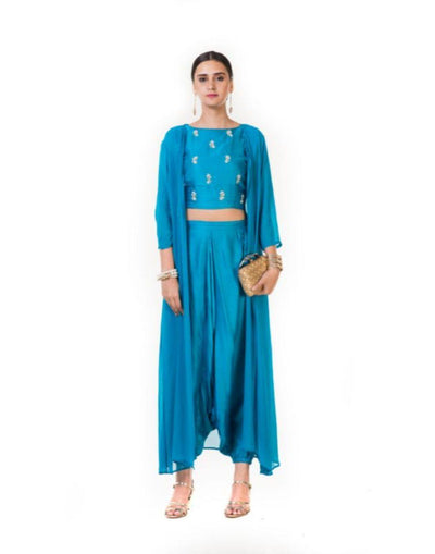 Hand Embroidered Indowestern Dhoti & Crop Top Set with a Long Cape-Women-Glamourental