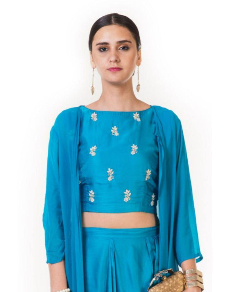 Rent Hand Embroidered Indowestern Dhoti & Crop Top Set with a Long Cape-Women-Glamourental