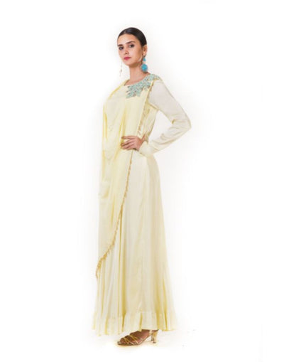 Rent Yellow Embroidered Fringe Drape Gown-Women-Glamourental