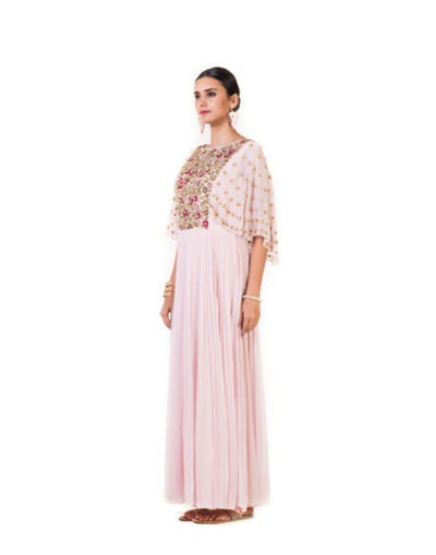Rent Baby Pink Hand Embroidered Yoke Pleated Gown-Women-Glamourental