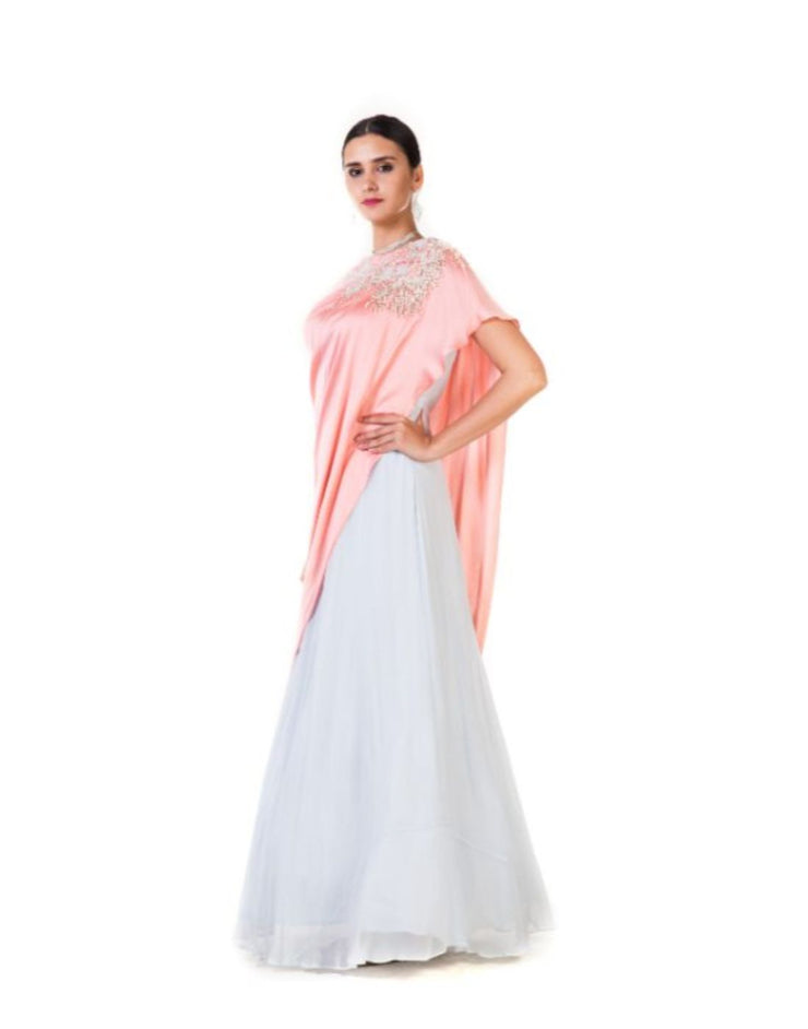 Rent Hand Embroidered Peach & Powder Blue Asymmetrical Drape Gown-Women-Glamourental