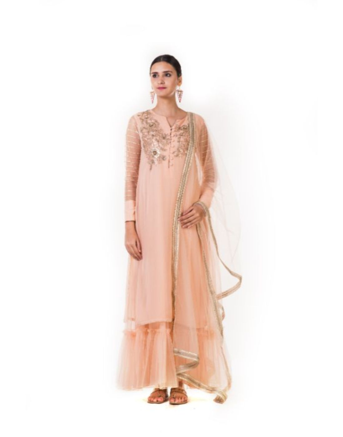 Rent Embroidered Peach Sharara Style Tunic With a Dupatta-Women-Glamourental