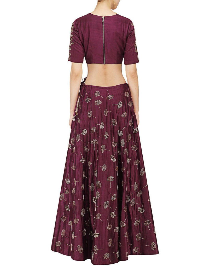 Rent Wine Color Silk Lehenga Set Embellished With All Hand Work-Women-Glamourental