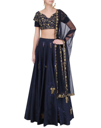 Navy Blue Color All Hand Embroidery Silk Lehenga Set