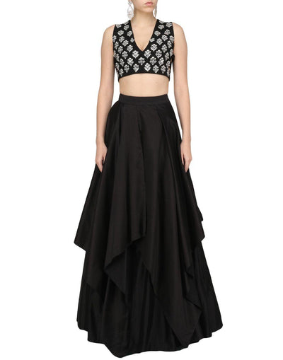 Black Color Silk Skirt With Geoegette Embroidered Top