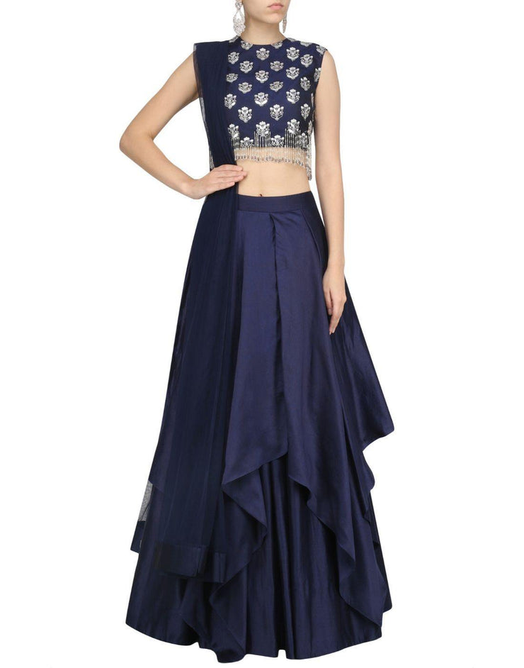 Rent Navy Blue Color Silk Skirt With Embroidered Top-Women-Glamourental