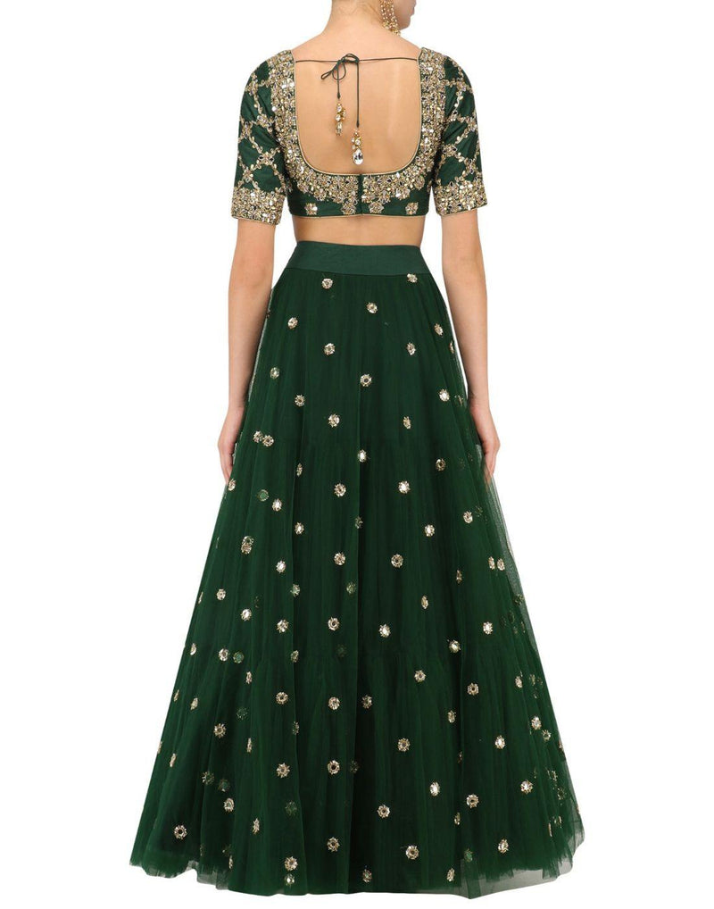 Rent Dark Green Net Hand Embroidered Lehenga Set-Women-Glamourental
