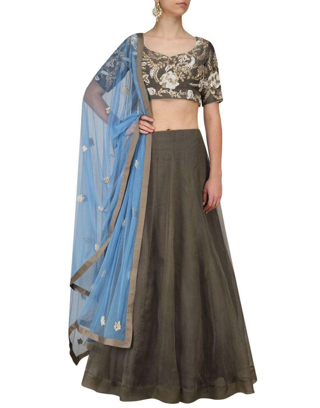 Rent Pastel Brown Organza Fabric Lehenga Choli Set-Women-Glamourental