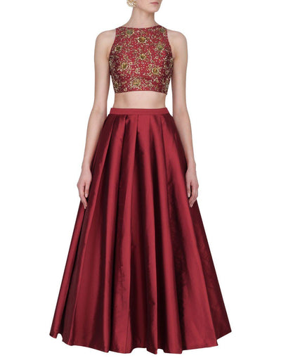 Rent Maroon Silk Embellished Top And Skirt-Women-Glamourental