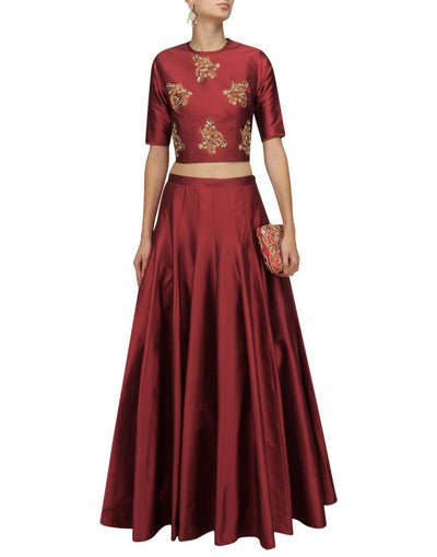 Maroon Silk Embellished Top And Skirt