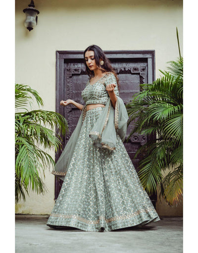 Rent Grey Net Lehenga-Women-Glamourental