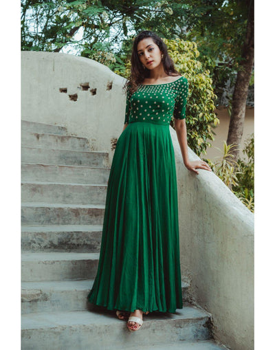 Rent Green Georgette Hand Embroidered Gown-Women-Glamourental