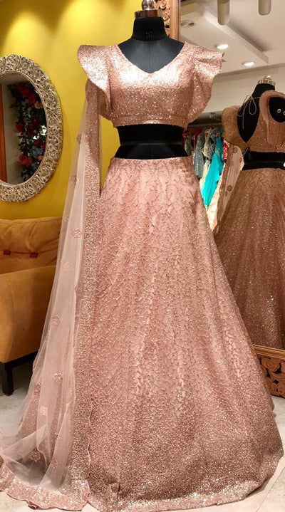 Rent Pink Contemporary Net Lehenga Choli