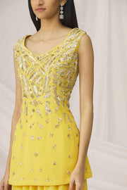 Rent Lemon Yellow Sharara with embroidery Online- Glamourental