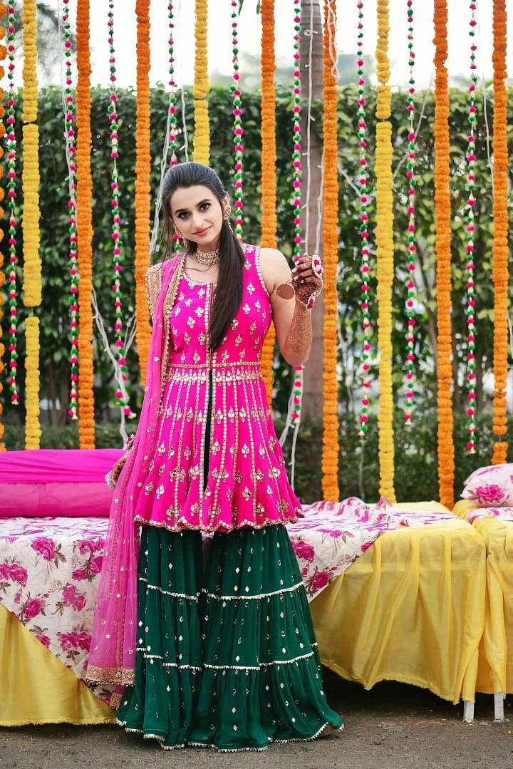 Rent Dark Pink (Rani) & Green Sharara Suit