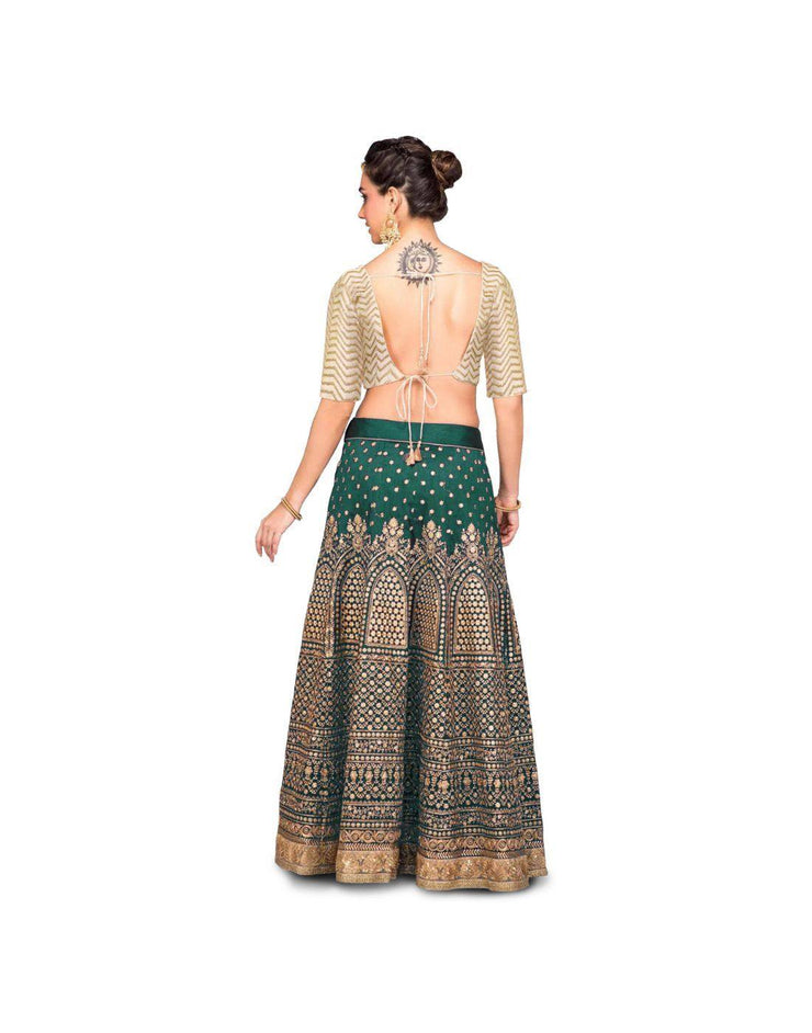 Rent Ivory and Green Sequin Embroidery Lehenga Choli-Women-Glamourental