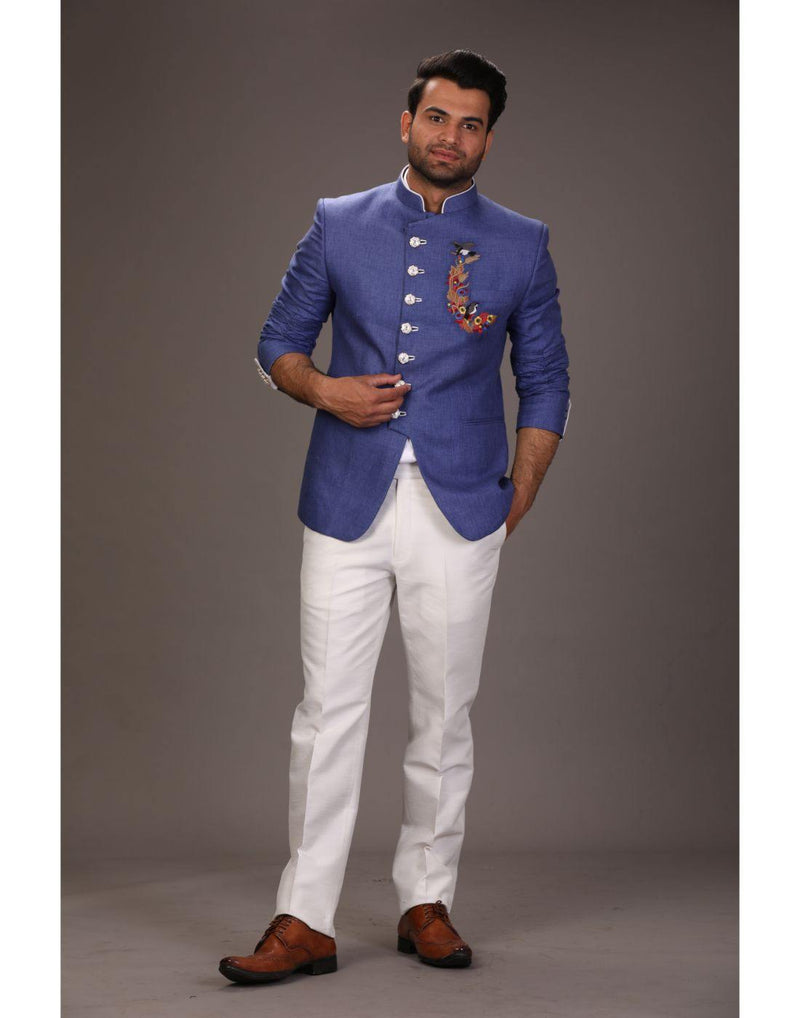 Bandhgala Trouser - Blue-Men-Glamourental