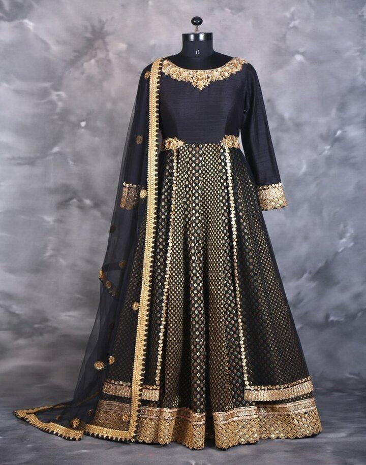 Rent Black Brocade & Silk Anarkali-Women-Glamourental