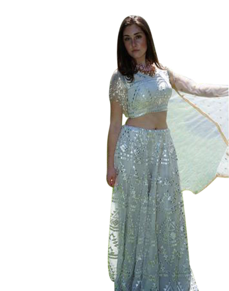 Rent White Lehenga Choli with Mirror work- Rent-Women-Glamourental