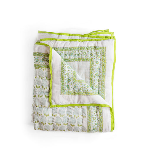 Bumble quilt in green/aque, soft cotton voile with cotton wadding insides.