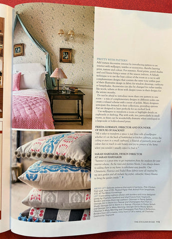 Pink bedroom shot in The English Home Magazine