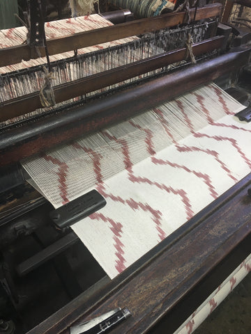 Terracotta Wave fabric being made on the loom by Bujosa