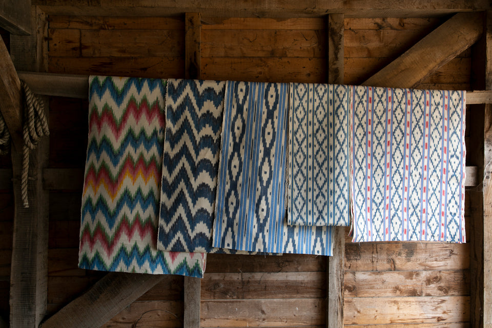 BUJOSA FABRIC - SKY BLUE AND RED STRIPE WITH INDIGO CHEVRON