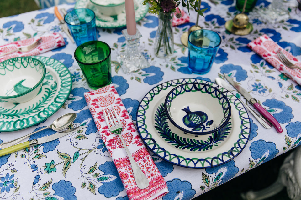 BUTTERFLY JAL TABLECLOTH IN BLUE