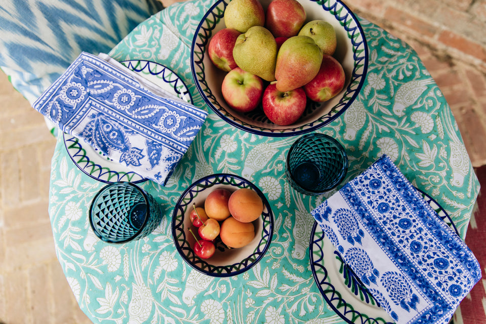 MEDIUM BOWL - GREEN AND BLUE POMEGRANATE DESIGN WITH SCALLOP DECORATION