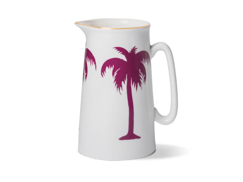 PALMTREE TWO PINT JUG WITH GOLD RIM