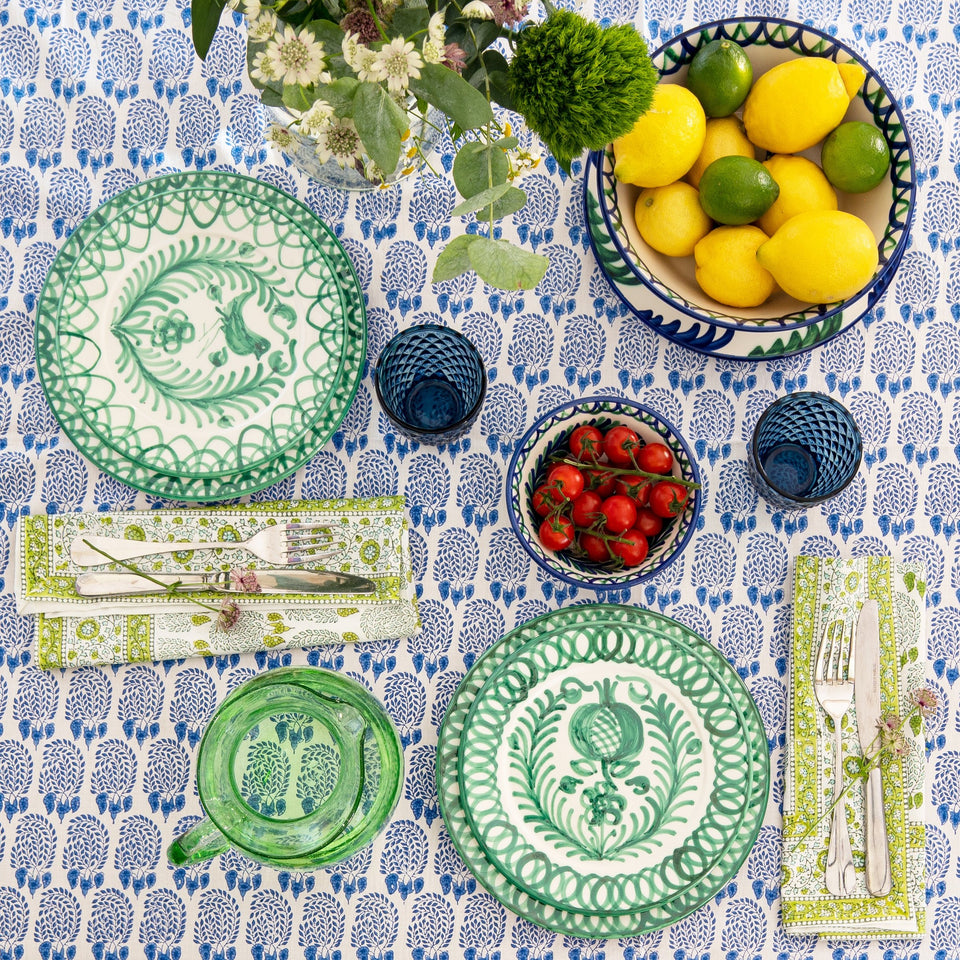 DINNER PLATE - GREEN POMEGRANATE DESIGN